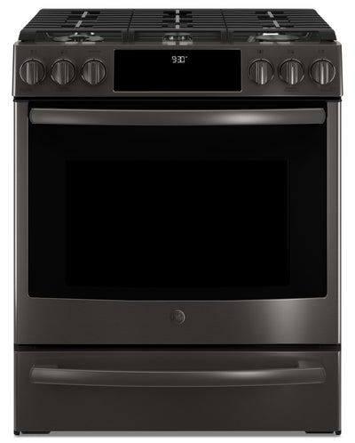 GE 5.6 Cu. Ft. Slide-In Gas Convection Range – PCGS930BELTS - Gas Range in Black Stainless Steel