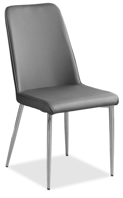 Marco Dining Chair – Grey - Modern style Dining Chair in Grey Metal and Faux Leather