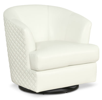 Leola Genuine Leather Accent Swivel Chair - White - Contemporary style Accent Chair in White