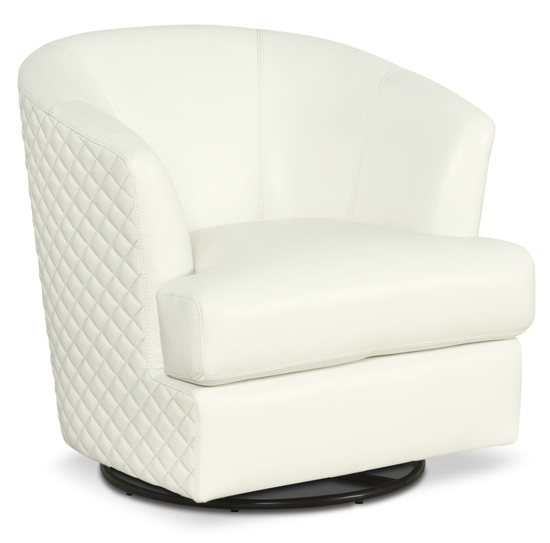 Leola 100 Genuine Leather Accent Swivel Chair White