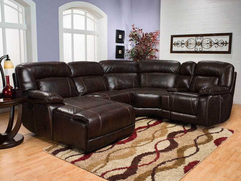 Kimba 5 Piece Leather Look Fabric Sectional With Right