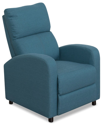 Zeo Linen-Look Fabric Reclining Chair – Blue|Fauteuil inclinable Zeo en tissu d'apparence lin - bleu|ZEO528RC
