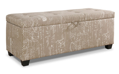 Amalia Ottoman with Shoe Storage - Beige - Contemporary style Ottoman in Beige