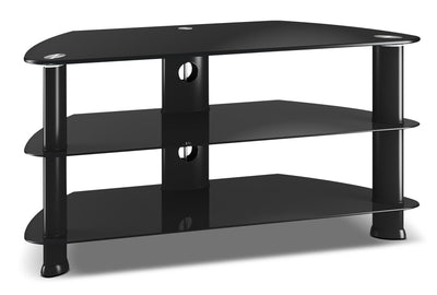 "Triton 40"" Corner TV Stand - Modern style TV Stand in Black Glass"