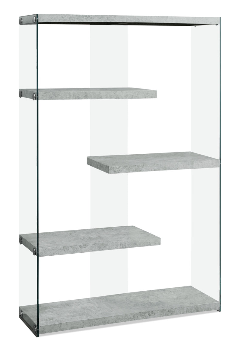 Yonah Wide Bookcase – Cement Grey|Bibliothèque large Yonah - gris ciment