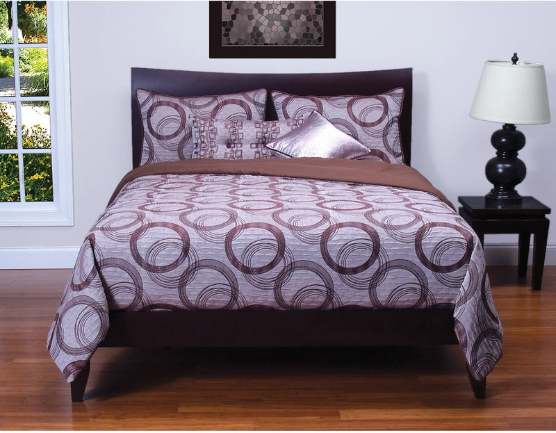 Brandon 6 Piece Full Duvet Set - Purple Duvet Set