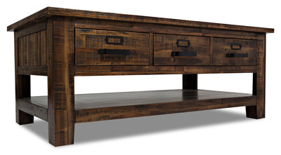 Casey Coffee Table - Industrial, Rustic style Coffee Table in Brown Acacia
