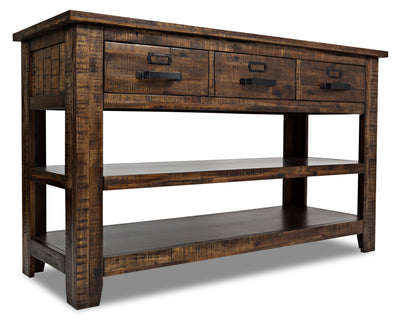 Casey Sofa Table - Rustic, Industrial style Sofa Table in Brown Acacia