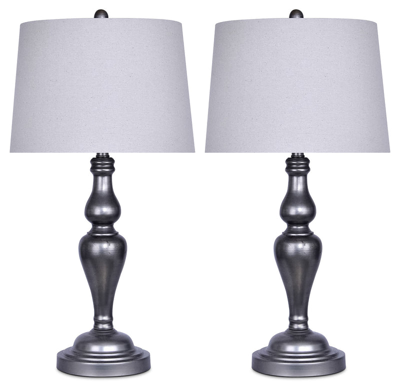 Vintage Metal 2-Piece Table Lamp Set|Ensemble 2 lampes de table en métal rétro