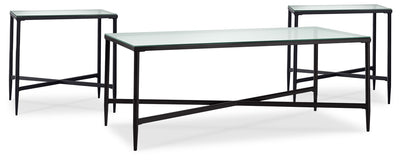 Augeron 3-Piece Coffee and Two End Tables Package - Modern style Occasional Table Package in Black Metal and Glass