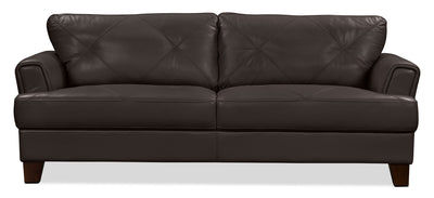 Vita 100% Genuine Leather Sofa – Chocolate - Retro style Sofa in Chocolate