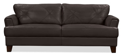 Vita 100% Genuine Leather Sofa – Chocolate|Sofa Vita en cuir 100 % véritable - chocolat|VITACH-S - Open-Box
