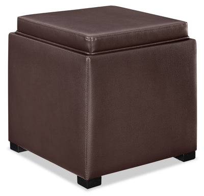 New York Ottoman - Contemporary style Ottoman in Dark Brown Wood and Faux Leather