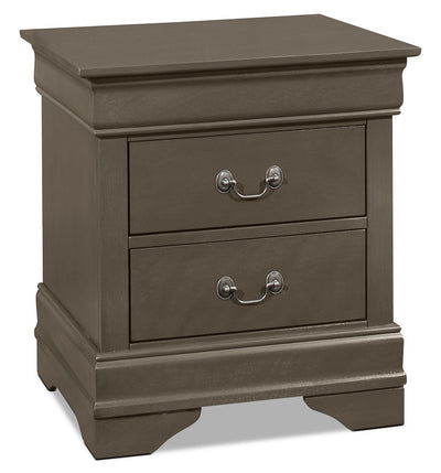 Lyla Nightstand – Grey - Contemporary style Nightstand in Grey Rubberwood Solids and Okoume Veneers