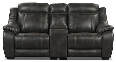 Novo Leather-Look Fabric Power Reclining Loveseat – Grey - Contemporary style Loveseat in Grey
