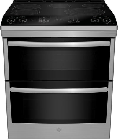 GE Profile 6.7 Cu. Ft. Slide-In Double Oven Smooth-Top Electric Range – PCS980SMSS