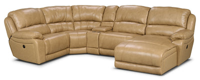 Marco Genuine Leather 5-Piece Sectional with Right-Facing Inclining Chaise – Toffee - Contemporary style Sectional in Toffee