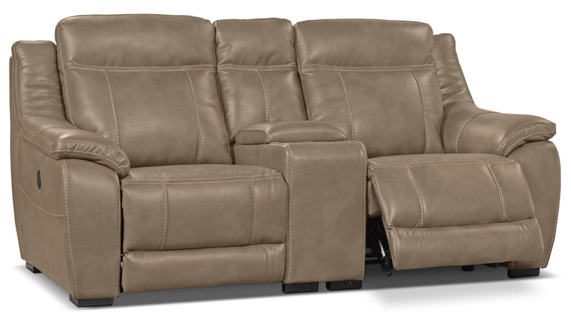 Novo Leather Look Fabric Power Reclining Loveseat Taupe