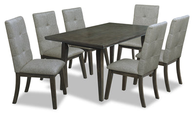 Chelsea 7-Piece Rectangular Dining Package - Grey - {Contemporary} style Dining Room Set in Grey {Rubberwood}