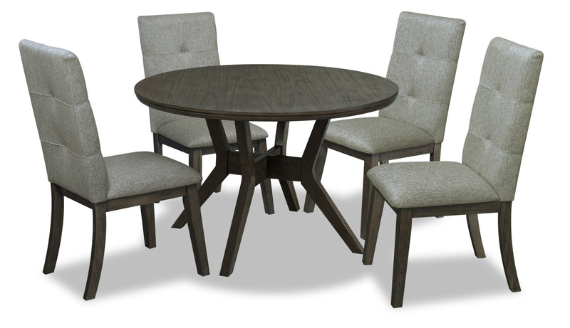 Chelsea 5-Piece Round Dining Package - Grey - {Contemporary} style Dining Room Set in Grey {Rubberwood}