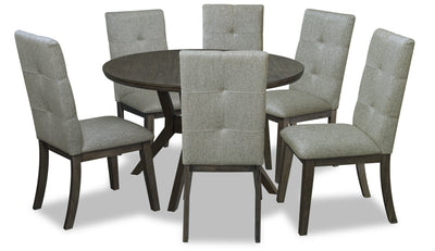 Chelsea 7-Piece Round Dining Package - Grey Brown|Ensemble de salle à manger Chelsea 7 pièces avec table ronde - gris-brun|CHELGRP7