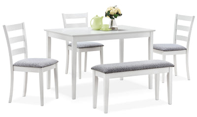 Monarch 5-Piece Dining Package – White - Contemporary style Dining Room Set in White