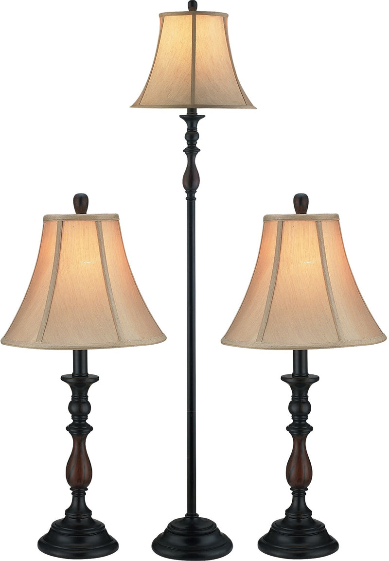 Bronze-Finish 3-Piece Floor and Two Tables Lamps Set with Bell Shade|Ensemble de 3 lampes traditionnelles avec abat-jours en forme de cloche