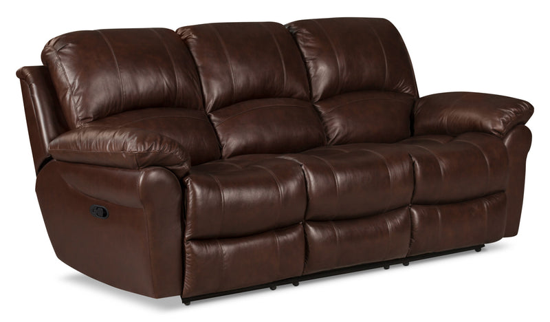 Kobe Genuine Leather Reclining Sofa Brown The Brick