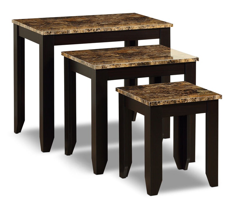 Roma 3-Piece Nesting Table Package - Contemporary style End Table in Dark Brown Wood