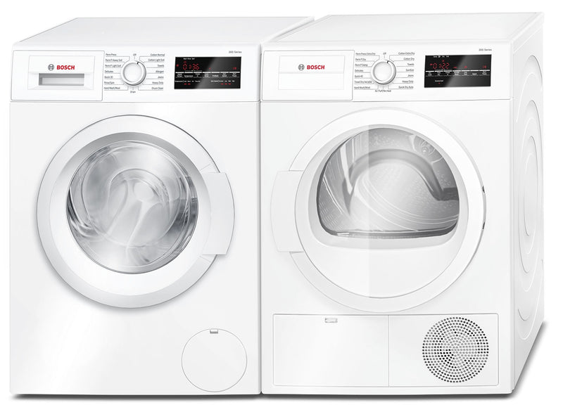Bosch 2.2 Cu. Ft. Compact Washer and 4.0 Cu. Ft. Compact Condensation Dryer - White|Laveuse compacte de 2,2 pi³ et sécheuse compacte par condensation de 4,0 pi³ de Bosch - blanches|BSHH300L