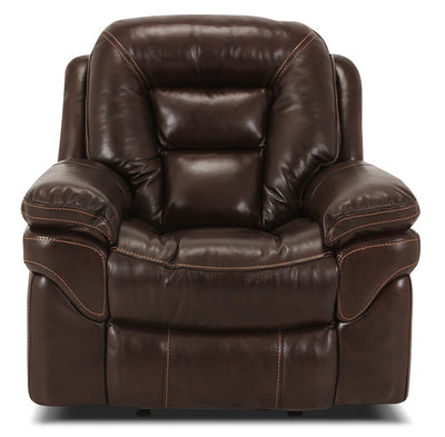 Leo Genuine Leather Reclining Chair – Walnut|Fauteuil inclinable Leo en cuir véritable - noyer|LEOLWARC