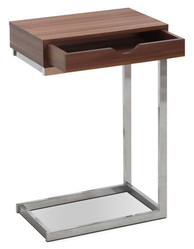 Dorset Accent Table – Walnut - Modern style End Table in Light Brown Metal and Wood