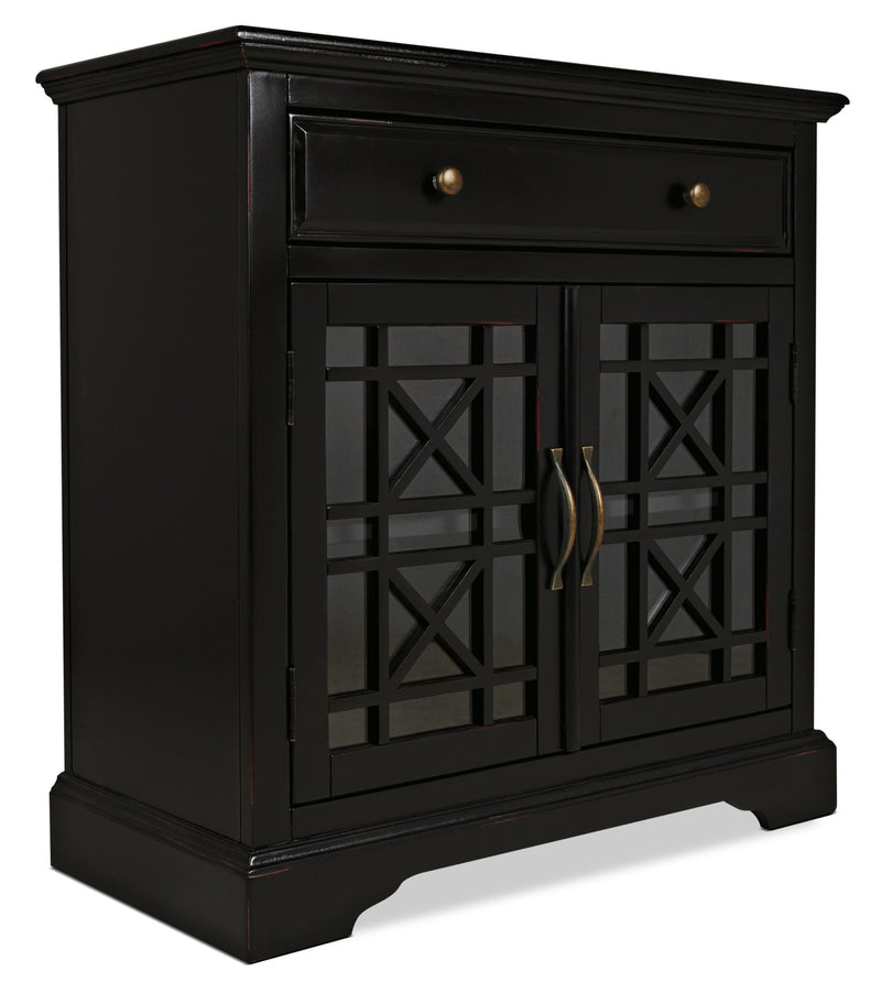 Marseille Accent Cabinet – Black - Country style Accent Cabinet in Black Acacia Solids and Veneers