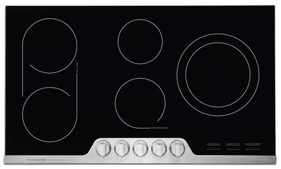 "Frigidaire Professional 36"" Electric Cooktop – FPEC3677RF - Electric Cooktop in Black/Stainless Steel"