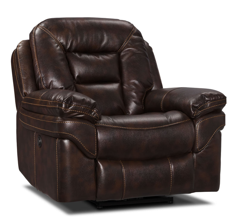 Leo Leath-Aire® Fabric Power Reclining Chair – Walnut|Fauteuil à inclinaison électrique Leo en tissu Leath-Aire - noyer|LEOWAPPC