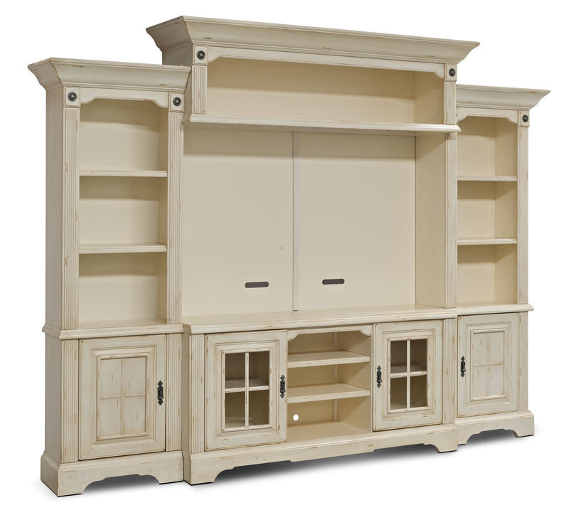 "Highland 5-Piece Entertainment Centre with 66"" TV Opening - Country style Wall Unit in Antique White"
