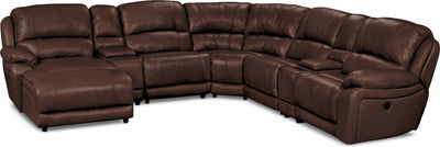 Marco Genuine Leather 7-Piece Sectional– Chocolate - Contemporary style Sectional in Chocolate