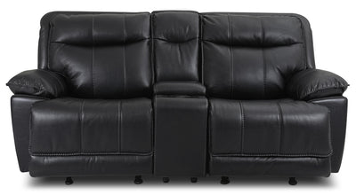 Matt Leather-Look Fabric Reclining Loveseat – Black - Contemporary style Loveseat in Black