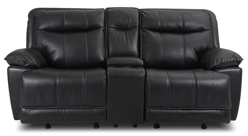 Matt Leather-Look Fabric Reclining Loveseat – Black|Causeuse inclinable Matt en tissu apparence cuir - noire