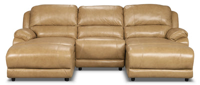Marco Genuine Leather 3-Piece Sectional with Inclining Chaises– Toffee - Contemporary style Sectional in Toffee