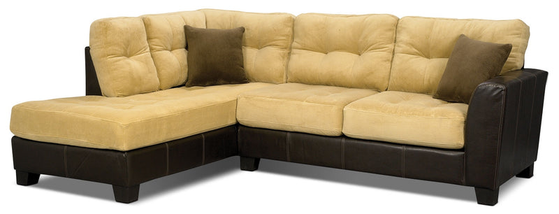 Bella 2-Piece Left-Facing Microsuede Sectional - Two-Tone Brown|Sofa sectionnel de gauche Bella 2 pièces en microsuède - deux tons de brun|BELLA2S2