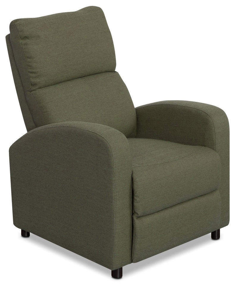 Zeo Linen-Look Fabric Reclining Chair – Army Green|Fauteuil inclinable Zeo en tissu d'apparence lin - vert militaire