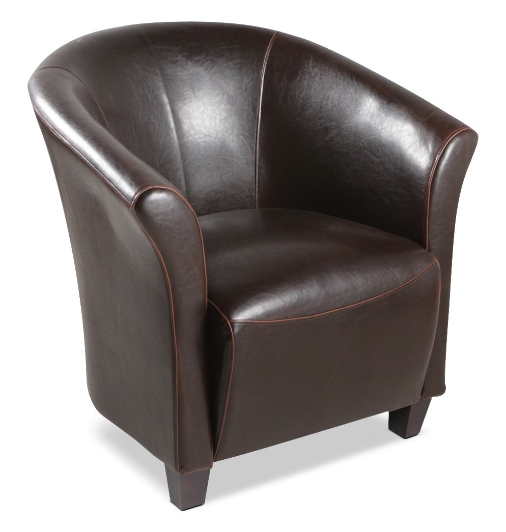 Picture of: Ethan Faux Leather Accent Chair Brown The Brick