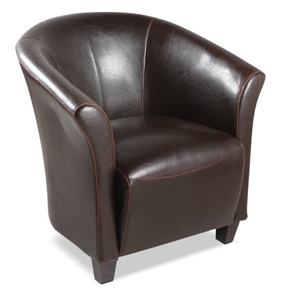 Ethan Faux Leather Accent Chair – Brown - Modern style Accent Chair in Brown