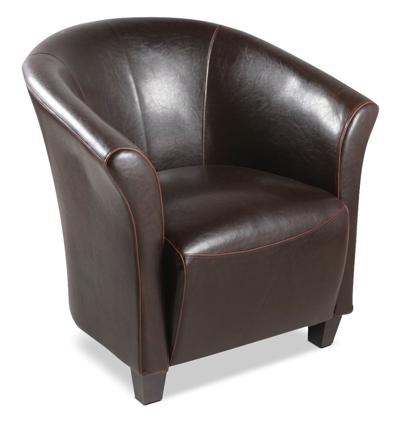 Ethan Faux Leather Accent Chair – Brown|Fauteuil d'appoint Ethan en similicuir - brun