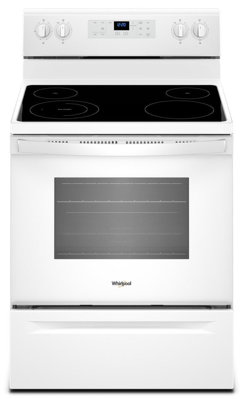 Whirlpool 5.3 Cu. Ft. Freestanding Electric Range with Adjustable Self-Cleaning|Cuisinière électrique non encastrée, éléments à serpentins à chauffage rapide, 5,3 pi3
