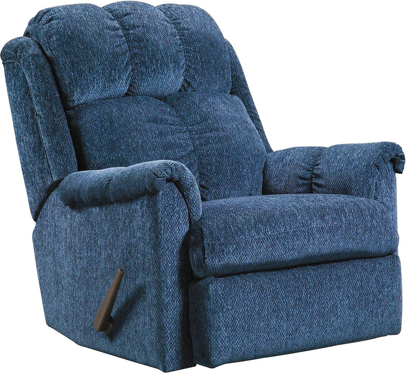 Navy Chenille Rocker Recliner - Contemporary style Chair in Navy