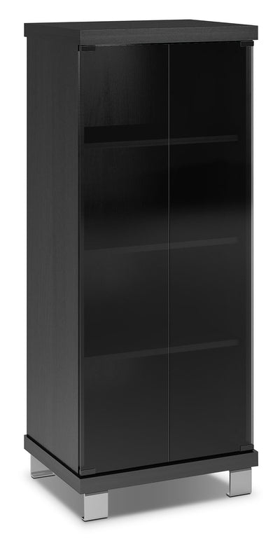 "Rio 20"" Audio Stand - Modern style Media Stand in Black Glass and Wood"