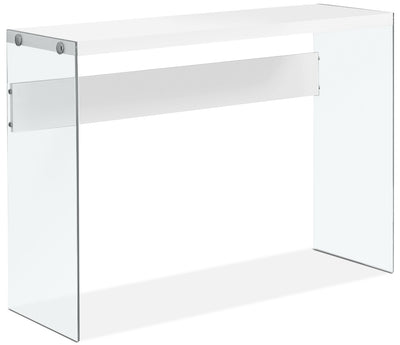 Waterford Sofa Table - Modern style Sofa Table in White MDF and Glass