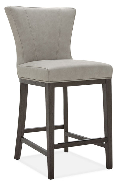 Quinn Counter-Height Stool – Taupe - Contemporary style Bar Stool in Taupe Rubberwood and Bonded Leather